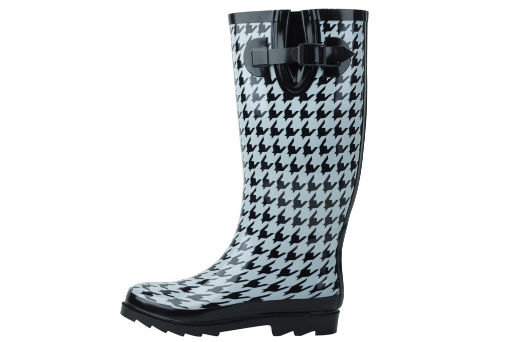 Sunville New Women's Rubber Rain Boots, Available In Multiple Styles,10 B(M) US,Houndstooth