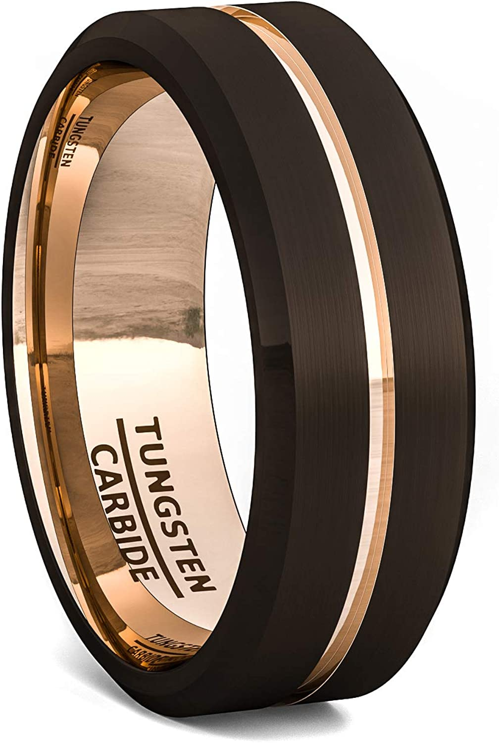 Pipe Cut Brush Finished Mens Tungsten Wedding Band Rose Gold Plated Groove 8mm