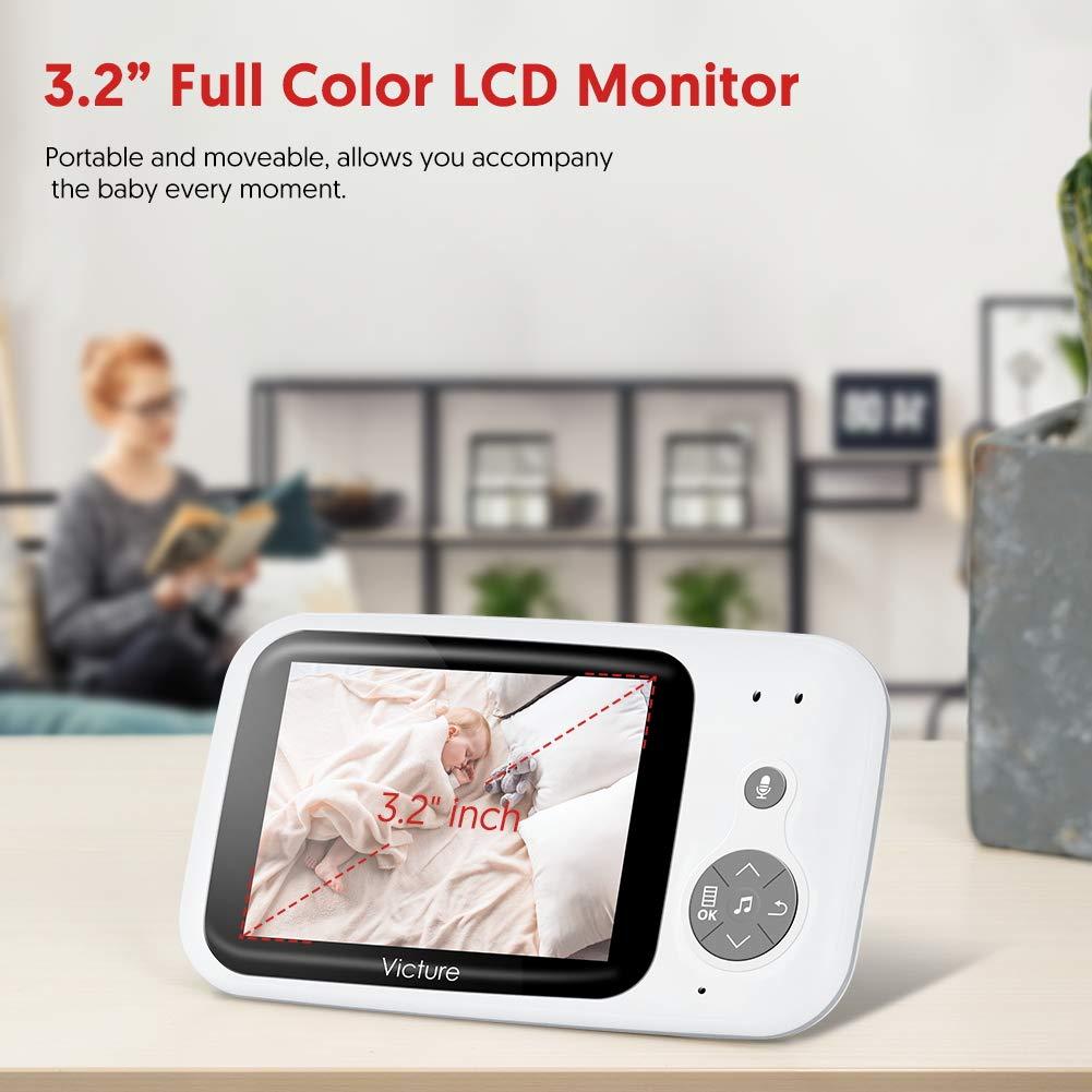 Pantalla LCD de 3.2 Beb/é Monitor Digital Compatible con Infrarrojos Sala de Visi/ón Nocturna Audio Charla bidireccional Victure Vigilabeb/és Inalambrico con c/ámara Canciones de Cuna