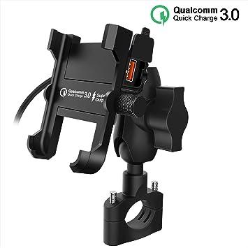 Kriogor Soporte Móviles Moto de Montaje Aluminio con QC 3.0 Cargador USB Toma para Bicicleta Teléfono Móvil de 4 a 6.5 Pulgadas Dos Métodos de ...