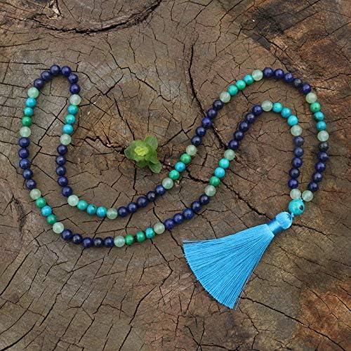 TUDUDU 8 Mm Aventurina Verde Azurita Lapis Japamala Collar Meditación Mala Chakra Piedras Mala Budista Mala Cuenta De Oración 108 Cuentas De Mala