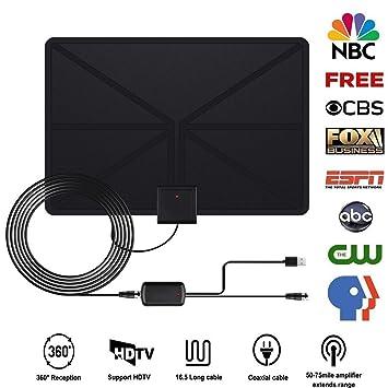 Antena TV, Antena de TV Interior Portátil Antena HDTV Digital Amplificador 50 Millas Gama de