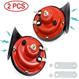 WIKIBB 2 Pcs Super Train Horn for Truck,Car Air Electric Snail Horn,12V Waterproof Air Horns Kit Super Loud for Car…