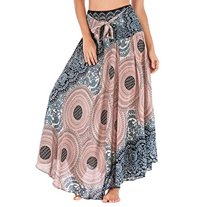 b94843801d Amazon.com: Womens 2 in 1 Bohemian Maxi Skirt Dress,Casual Loose Hippie  Gypsy Boho Elastic Waist Floral Halter Travel Beach Skirt (Beige, ...