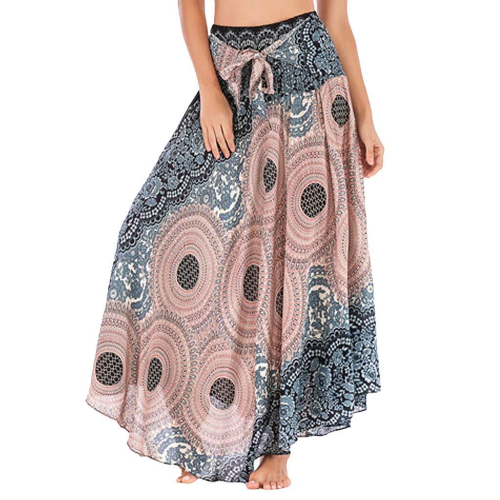 PASATO Women Long Hippie Bohemian Gypsy Boho Flowers Elastic Waist Floral Halter Boho Dress Skirt (Beige,Free)