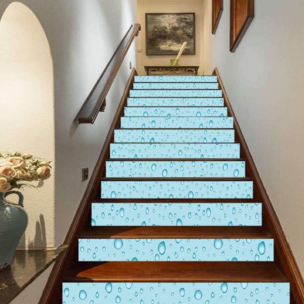 "Aqua Staircase Stickers,Big Small Water Rain Drops Liquidity Oceanic Pelagic Naval Seafaring Maritime Image Self-Adhesive Wall Stair Stickers Mural Wallpaper for Home Decor,39.3""x7""x13PCS"