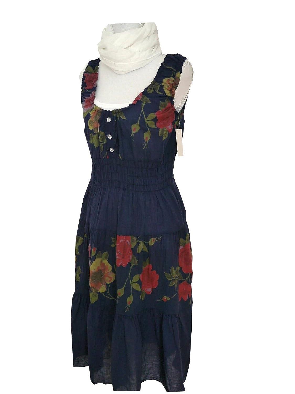 Italy Fashion Trend Kurzkleid Sommerkleid Kleid Rosen Blüten Blumenprint dunkelblau blau M L 38 40 42 Baumwolle