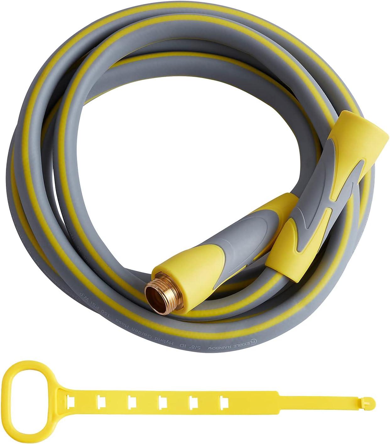 Garden Hose, Hybrid 5/8 in, Heavy Duty, Light Weight and Flexible Water Hose (Yellow, 10' (feet))