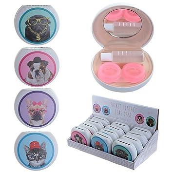 Original Estuche para lentillas - Pugs, Gatos y Perros con gafas y sombre: Amazon.es: Coche y moto