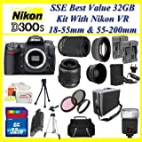 Nikon D300s 12.3MP Digital SLR Camera with With Nikon 18-55mm And Nikon 55-200mm VR Lens Kit INCLUDING 3 Extra Lens + 32GB COMPACT FLASH MEMORY CARD + 2x EXTENDED LIFE BATTERIES + AC/DC Rapid Home/Car Charger + TRIPOD and MUCH MORE !!