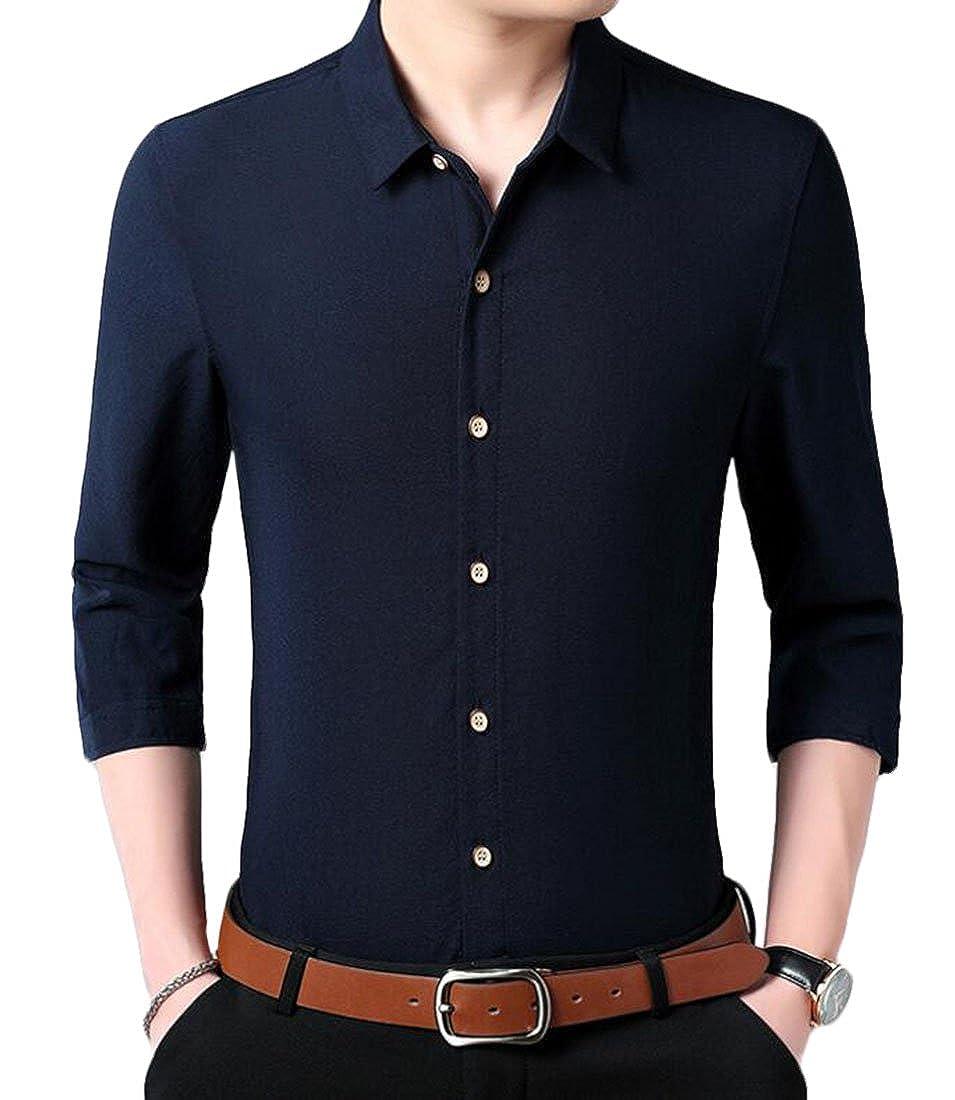 CRYYU Men Linen Hippie Shirts Summer Button up 3//4 Sleeve Shirts