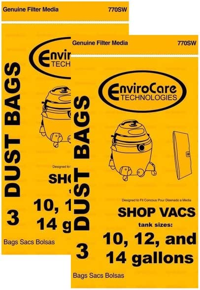 for Parts 90662 (6 Pack) VF2005 Vacuum Bags for Shop Vac 10-14 Gallon Wet//Dry Vacuum Bag Type F