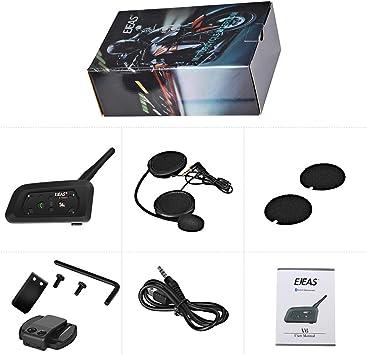 Lexin 2 uds R6 1200M BT inalámbrico casco de motocicleta interfono Bluetooth intercomunicador auriculares para 6 jinetes GPS MP3