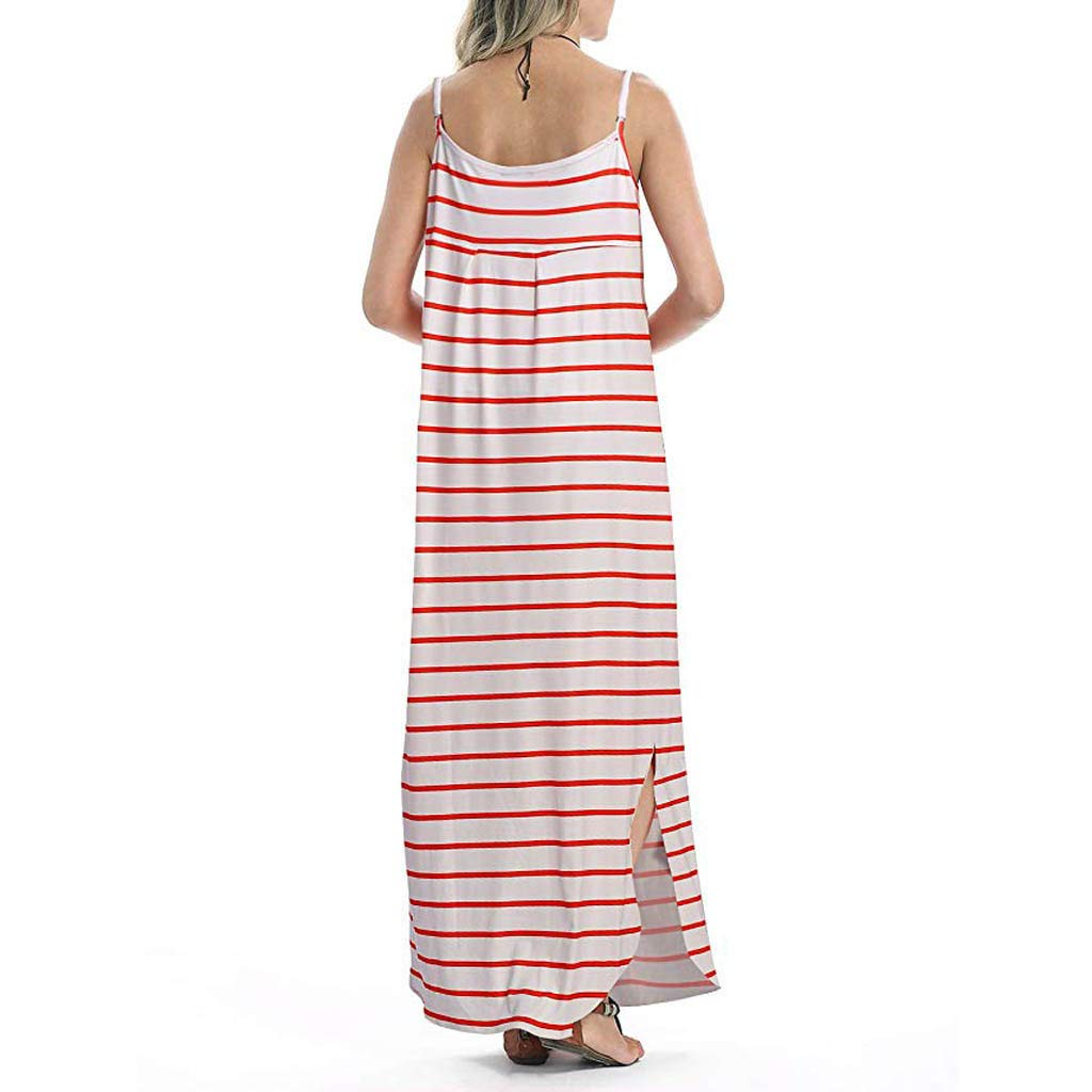ZOMUSAR 2019 Women Summer Casual Pockets Strappy Long Dress Beach Cami Split Maxi Dress Red by ZOMUSAR (Image #2)