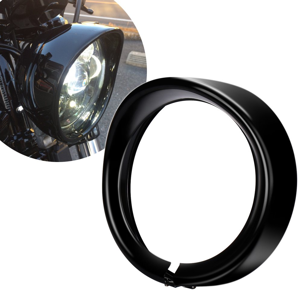 ZJUSDO 7 Inch Headlight Bezel Trim Ring for Harley Davidson Road King Street Glide