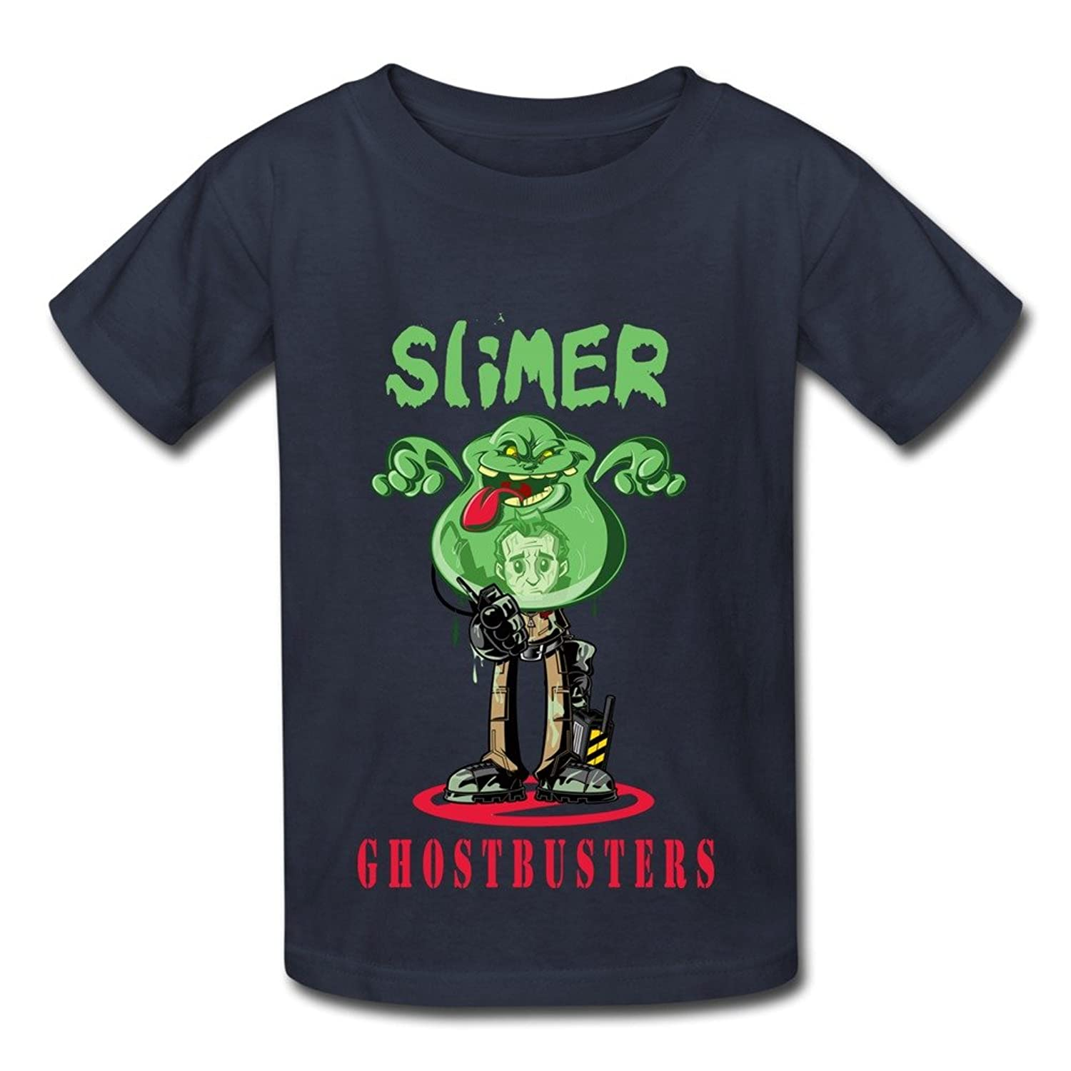 Boy's Ghostbusters Movie Slimer Poster Screw Neck 100% Cotton Tee Navy