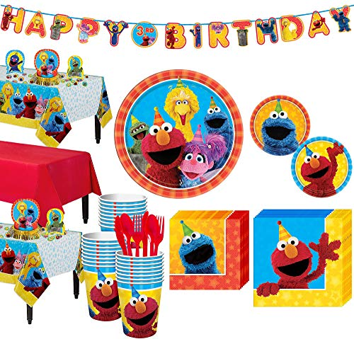 Party City Sesame Street Tableware Party Kit and Supplies for 24 Guests, Includes Table Covers, Favor Bags, Banner Kit ()