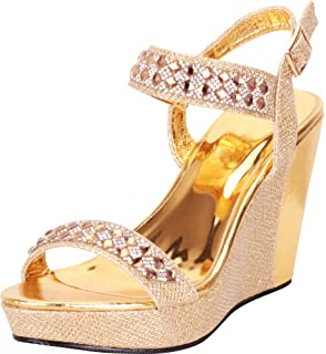 d282667f1 Cambridge Select Women s Open Toe Glitter Crystal Rhinestone Chunky Platform  Wedge Sandal