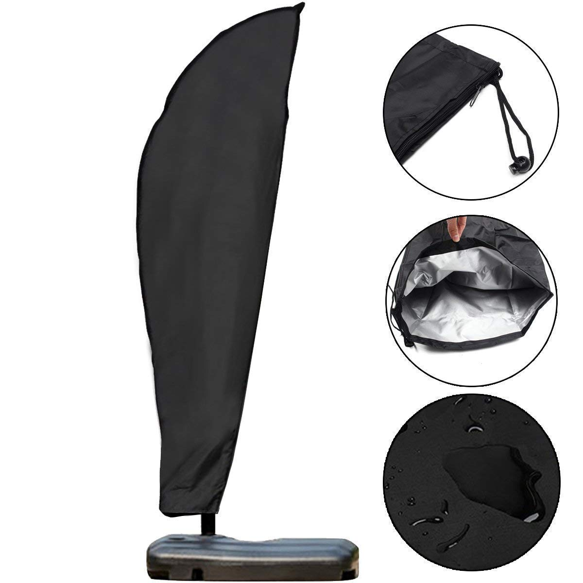 Artoper Umbrella Covers, Waterproof Patio Market Parasol Covers with Zipper for 9ft to 13ft Banana Cantilever Parasol Umbrellas Outdoor Umbrellas Black (280cm)