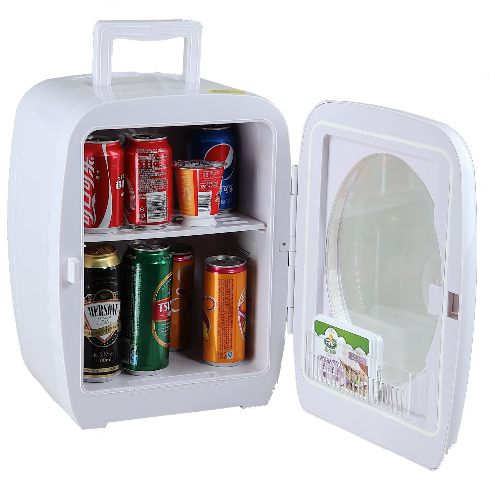 Smad Thermoelectric Cooler and Warmer Travel Mini Fridge, White,15 Liters