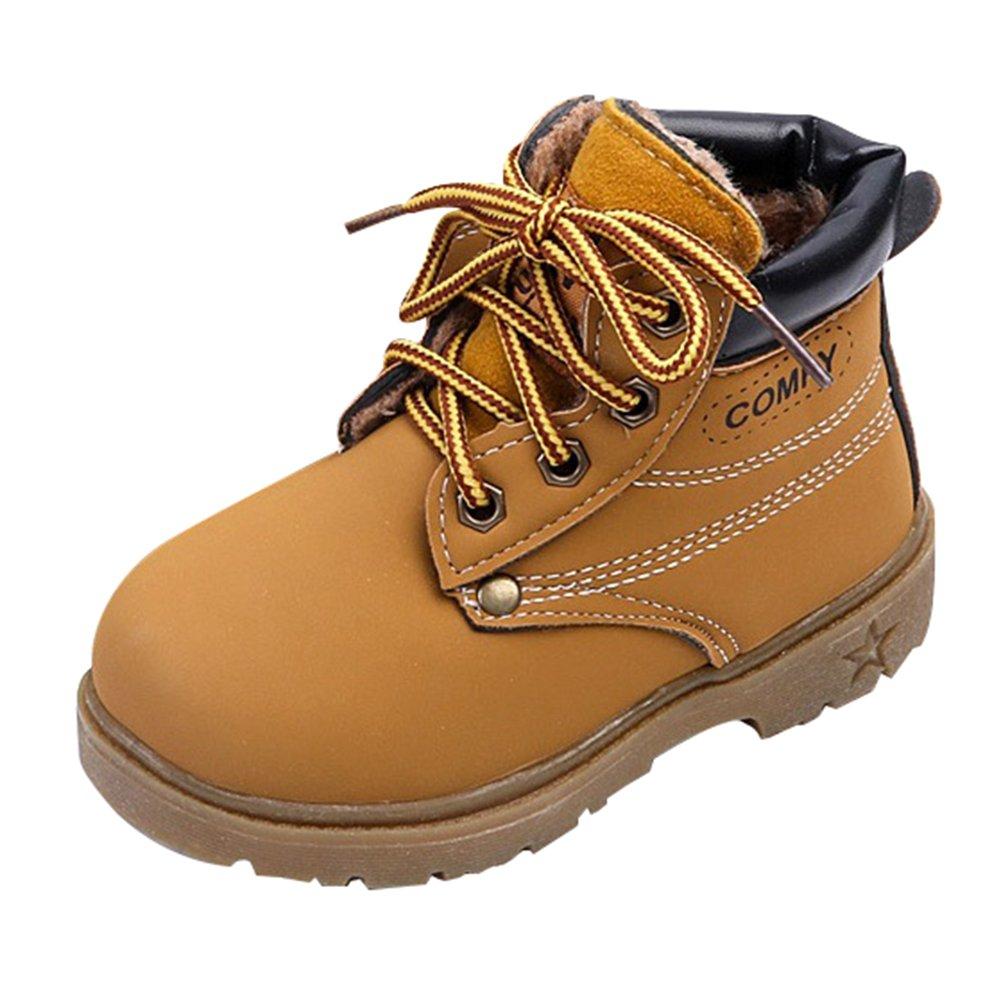 Juleya Botas de Invierno para niños - Niños/niñas Zapatos con Forro cálido Botines Zapatillas de Deporte con Cordones en Invierno Zapatillas de Deporte Antideslizantes 21-30 T171020CS1-J
