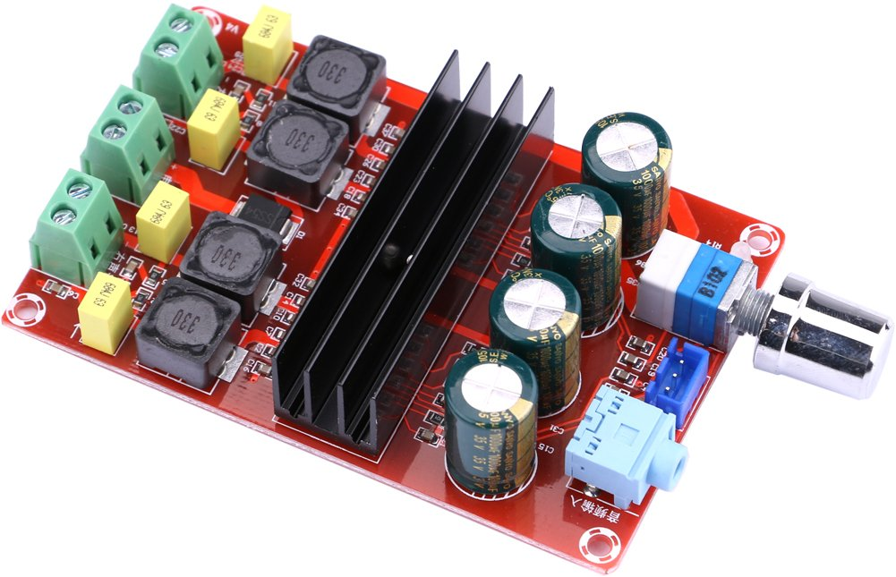 Yeeco 100W+100W 2 Channel Digital Power Audio Sereo Amplifier Board, DC 12-24V Car Stereo AMP Module for Vehicle Auto Computer Audio System DIY Speakers with Volume Knob Double Chips Heatsink