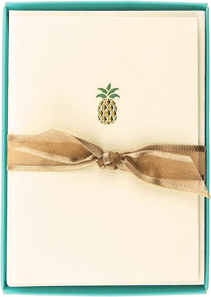 Snail Mail Thank You Cards Gold Pineapple Stationary Set All Occassion Card Set Pineapple Stickers