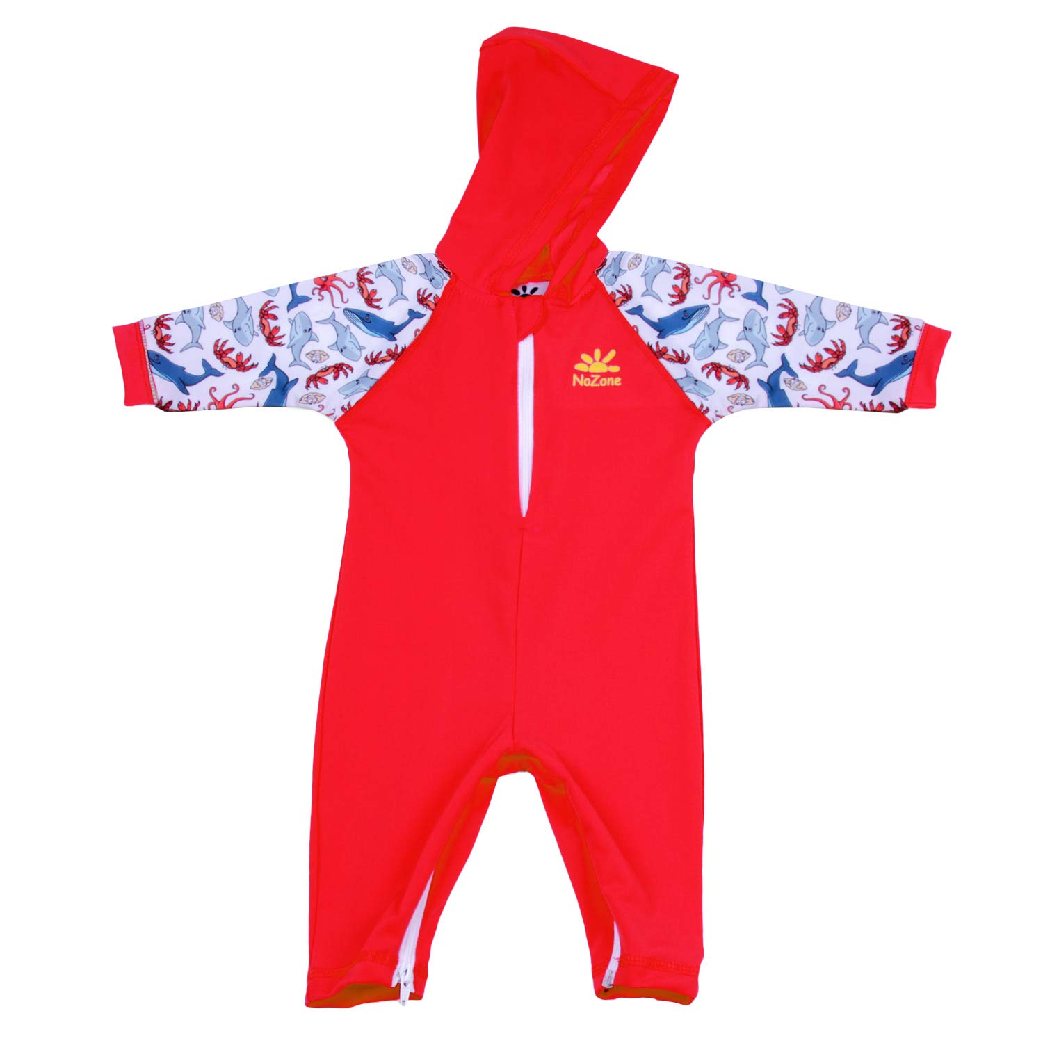 Nozone Kailua Hooded Baby Sun Protective Swimsuit in Red/Salty, 12-18 Months 2030RDPTL18