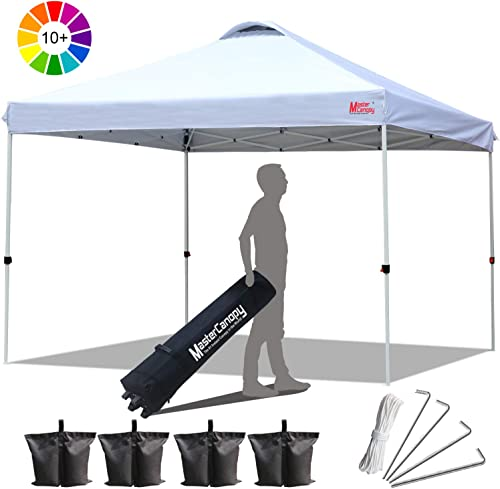 MASTERCANOPY Compact Canopy 10×10 Ez Pop up Canopy Portable Shade Instant Folding Better Air Circulation Canopy with Wheeled Bag,x4 Canopy Sandbags,x4 Tent Stakes White
