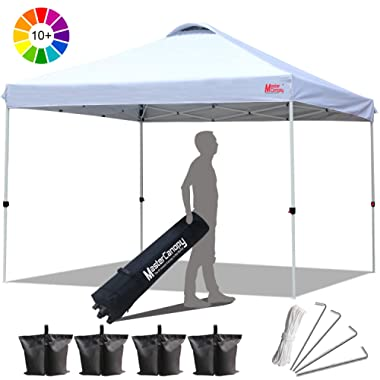 MasterCanopy Compact Canopy 10x10 Ez Pop up Canopy Portable Shade Instant Folding Better Air Circulation Canopy with Wheeled Bag,x4 Canopy Sandbags,x4 Tent Stakes(White)