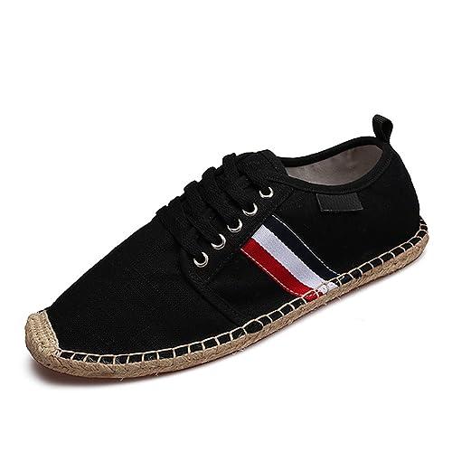 Zapatos con Cordones Lona Negro Alpargatas para Hombre Lino Espadrilles: Amazon.es: Zapatos y complementos