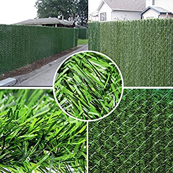 amazoncom synturfmats artificial hedge slats panels for chain link fencing outdoor faux hedge privacy screen fence patio lawn u0026 garden