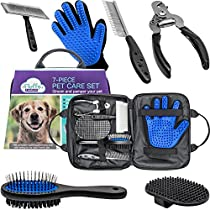 Pet Care Kit With Dog Nail Clippers, Pet Hair Remover Glove, Double-Sided Pet Hair Brush, Slicker Brush, Pet Massage Brush, Pet Comb and Carrying Case - All in One 7-Piece Pet Care Set With Gripsoft Handles Preventing Shedding, Matting and Knots for Healthy and Fluffy Fur