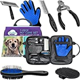 Pet Grooming Tools Kit With Dog Nail Clippers, Pet Hair Remover Glove, Double-Sided