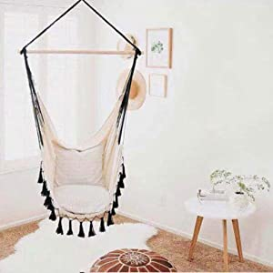 LQUIDE Hammock Chair, Hanging Rope Swing Seat for Indoor & Outdoor, Soft & Durable Cotton Canvas, 2 Cushions Included, Large Reading Chair,B,Include Hardware Kit