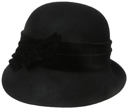 65b62567 SCALA Women's Wool Felt Cloche with Velvet Bow (Black) at Amazon Women's  Clothing store: