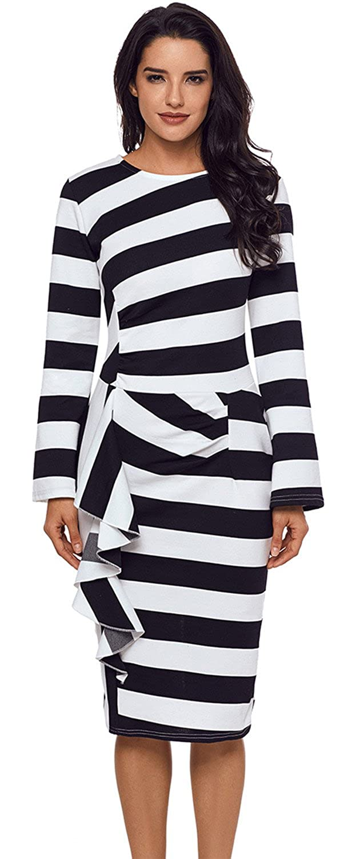 Long Sleeve Asymmetric Ruffled Ruffle Hem Stripe Colorblock Midi Bodycon Dress at Amazon Womens Clothing store: