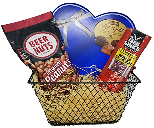 Valentines Day Gift for Him, Assorted Gift Basket includes Box of Milk Chocolates, Beer Nuts, and Teriyaki Jerky Perfect Valentine's Day Gift for Husband, Boyfriend, Men