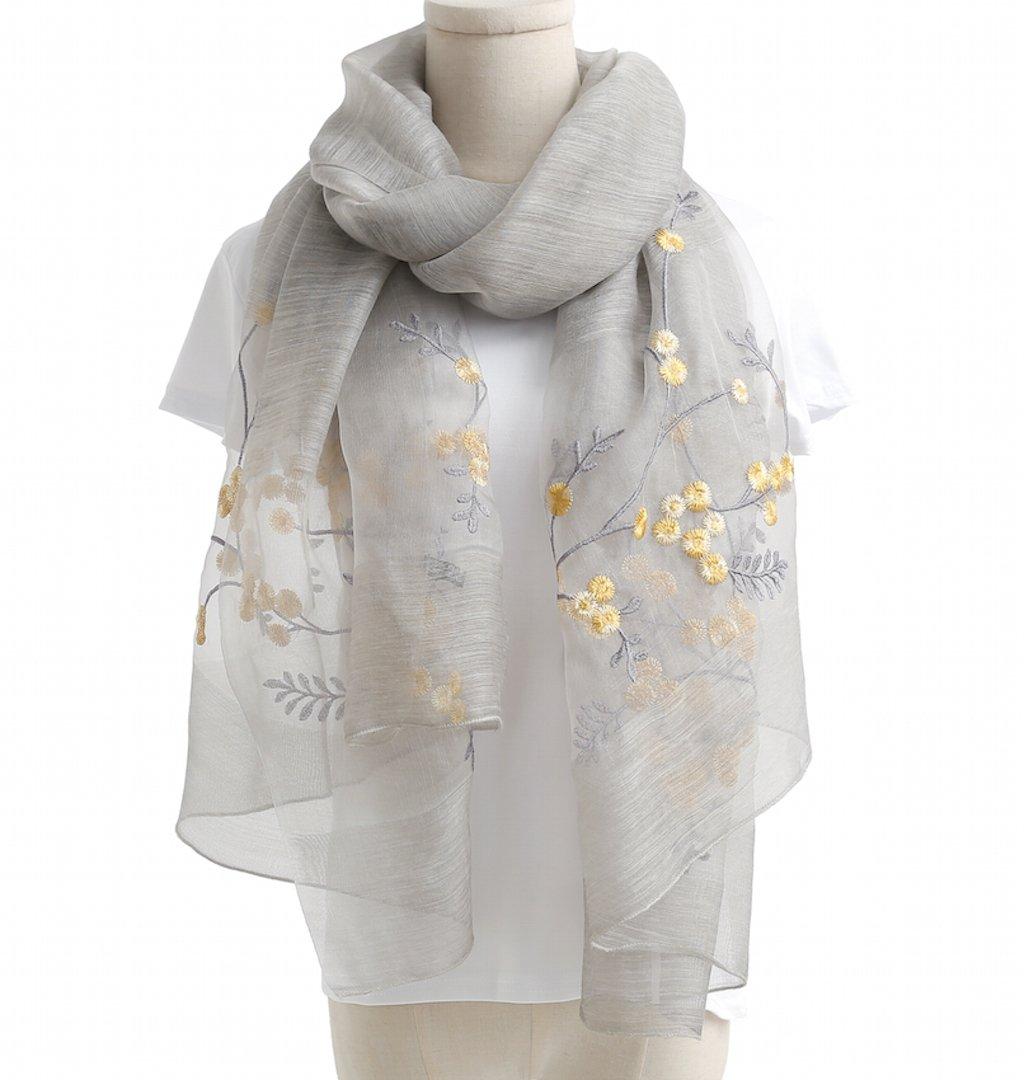 WS Natural Silk Scarf/Shawl/Wrap For Women Fashion Scarves (Grey Floral)