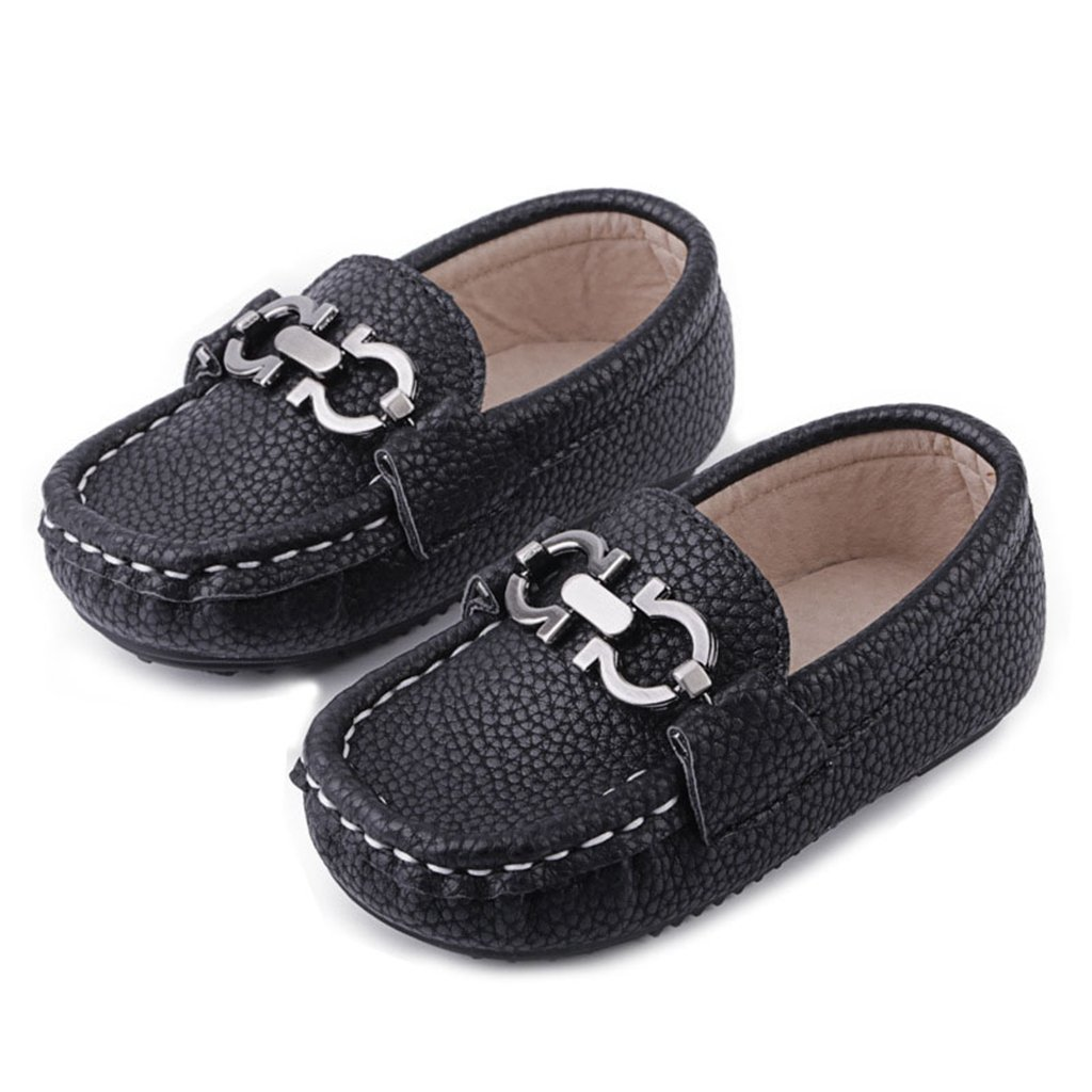 GIY Boys Girls Cute Strap Slip-On Comfortable Dress Suede Leather Loafer Flats