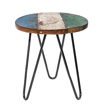 Table d\'appoint en teck recyclé marron ethnique pour jardin Garden ...