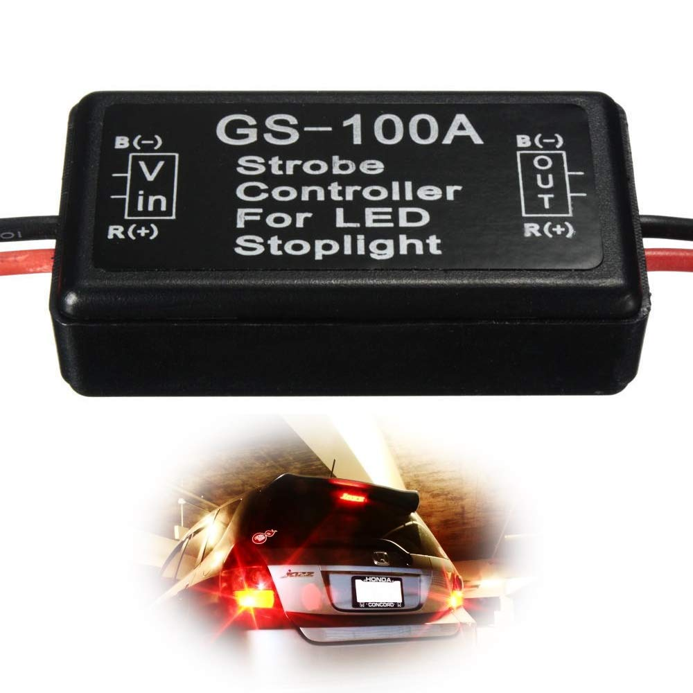 Ijdmtoy 1 12v Gs 100a Led Brake Stop Light Strobe 2002 Yukon License Plate Wiring Diagram Flash Module Controller Box For Car Automotive