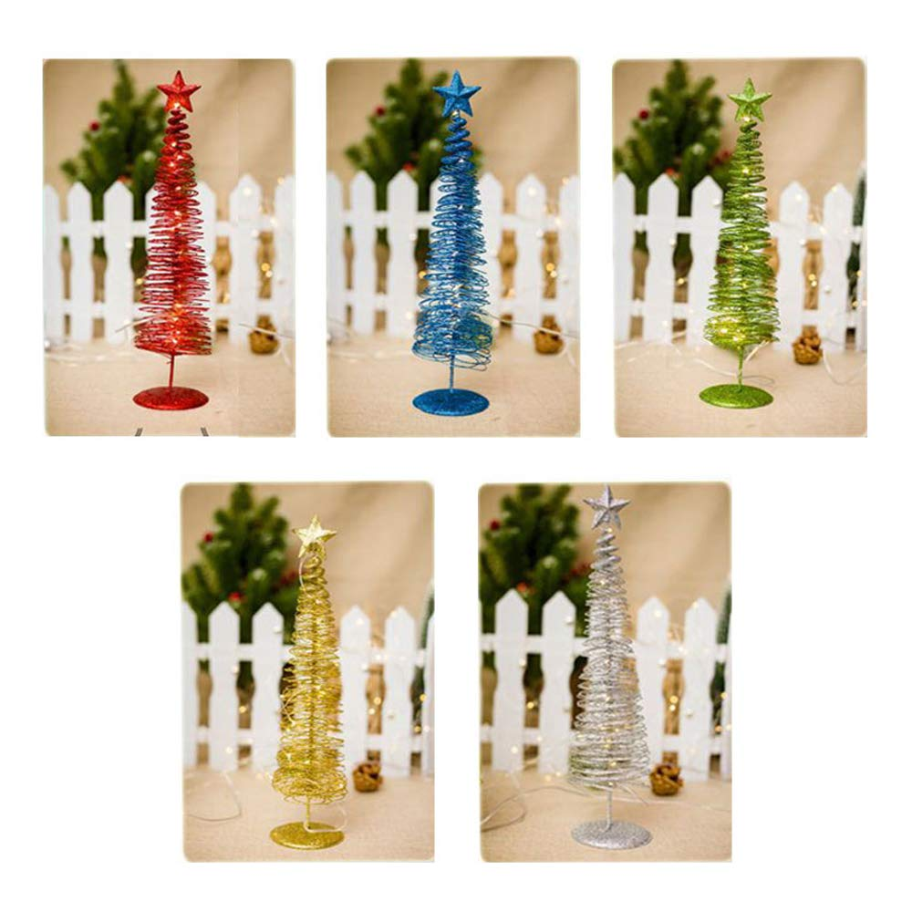 EMUNIQ 5-Pack Luminaria Christmas Tree Shape Ornament with String Lights Home Decor