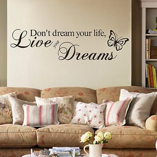 19 opinioni per Adesivo da parete in vinile con scritta Don't dream your life, live your dreams
