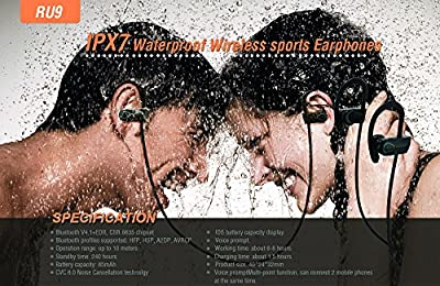 OC-BTE240 New Sport Wireless 4.1 Bluetooth Headphone, [IPX7 Waterproof Noise Cancelling Earbuds Designed to Stay in Ear, Light-Weight Earphone with Microphone & Voice-Prompt]