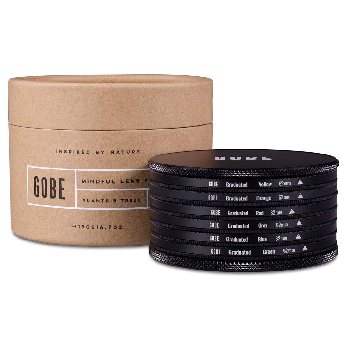 Gobe Graduated Color 62mm Filters: Orange, Blue, Grey, Red, Yellow, Green by Gobe