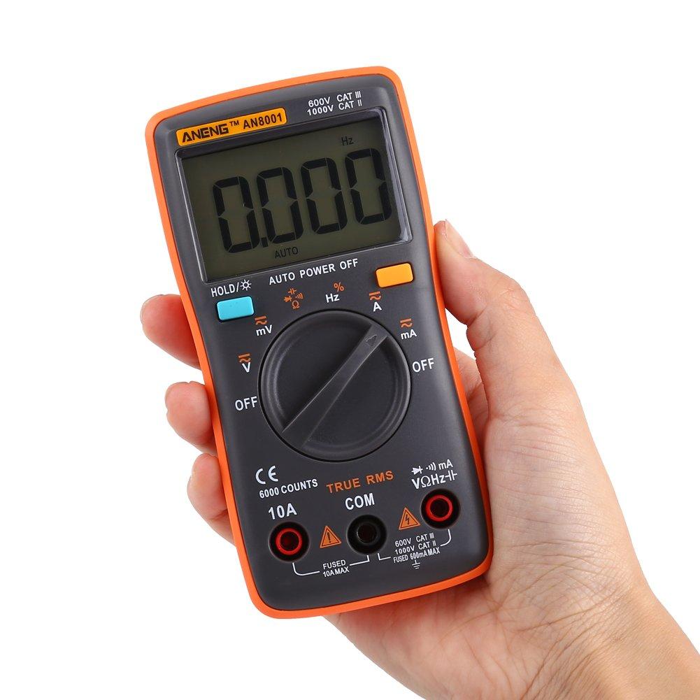 Multimetro Digitale 6000 Conteggio AC//DC Tensione di Corrente Tester di Tensione Ammetro Voltmetro Ohm Meter con Retroilluminazione LCD