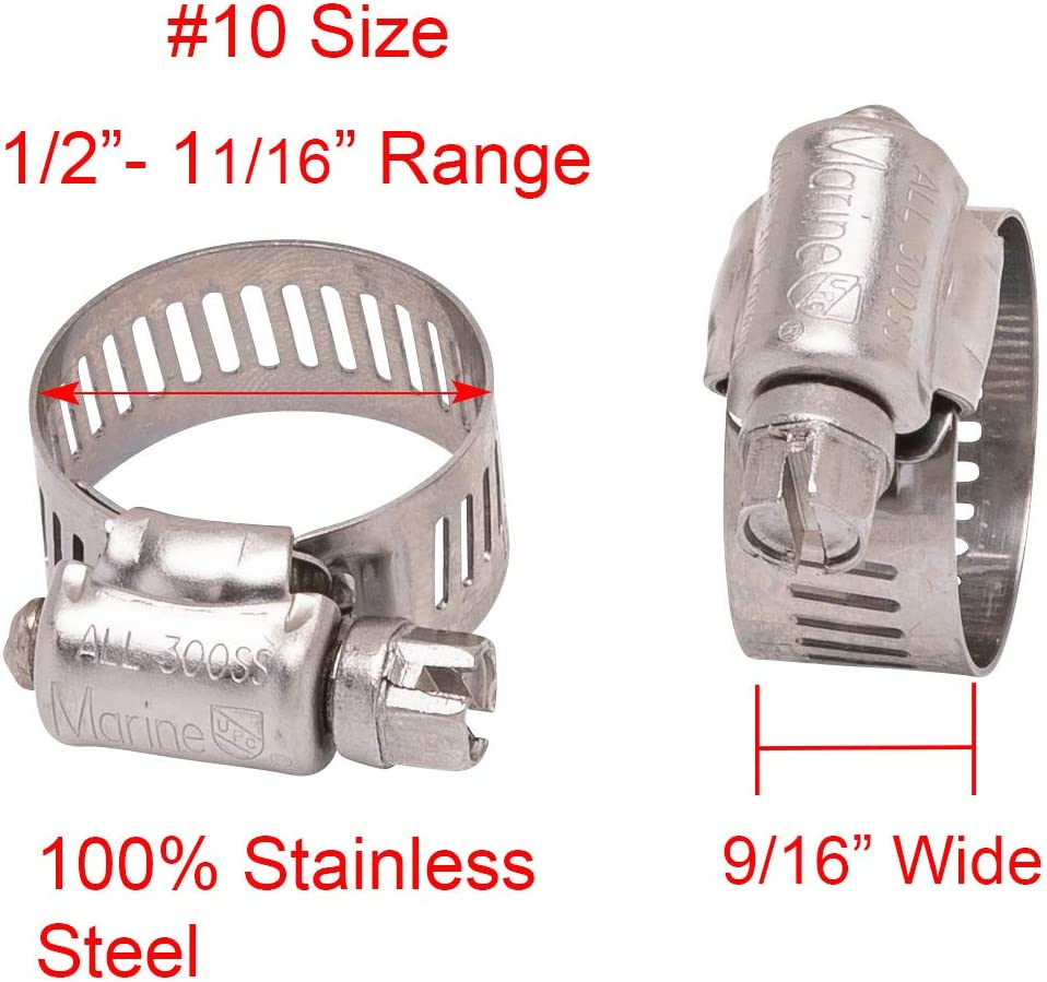 1//2 to 1-1//4 Diameter Stainless Hose Clamp 9//16 Wide Band, 10pc 300 SS 18-8 S//S #12