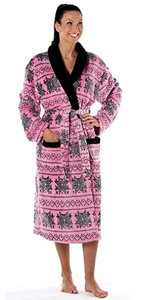 59c75bb0cb i-Smalls Ladies Thermal Coral Fleece Dressing Gown Bathrobe pink 14 ...