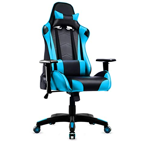 Wondrous Gaming Chair Intimate Wm Heart Racing Style Pu Leather Swivel Office Chair Recliner Tilt Lock Function Executive Computer Task Chair Blue Machost Co Dining Chair Design Ideas Machostcouk